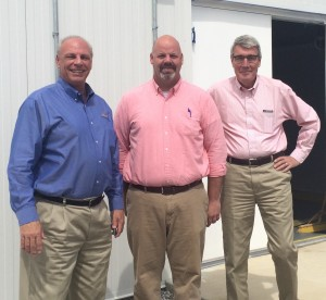 Pictured are, from left, Charly Lyons, executive director, Four Lake Regional Industrial Development/Tennessee Central Economic Authority; Timothy Frazier, ARC Automotive plant manager; and Wolfgang Roeder, business development consultant, Tennessee Department of Economic and Community Development.