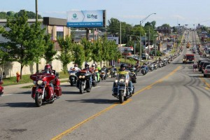 of Run for the Wall riders head north on Jefferson Avenue in 2015 upon arriving in Cookeville during their 10-day journey across the country.
