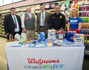 The Upper Cumberland Area Agency on Aging and Disability (UCAAAD) has partnered with local Walgreens locations for its Senior P.R.E.P. program. Pictured are, from left, Mike McCollum, Walgreens district manager; Joel Underwood, Walgreens Cookeville/ Willow Avenue store manager;  Austin Mudd, Walgreens area health care supervisor; Tyler Smith, Putnam County EMA director; and Jessica Pruett, AAAD disaster preparedness coordinator.