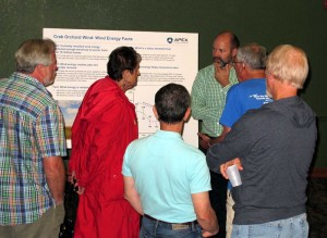 An Apex Clean Energy representative meets with Cumberland County residents to discuss a proposed wind project in Crab Orchard. Photo/Jim Young