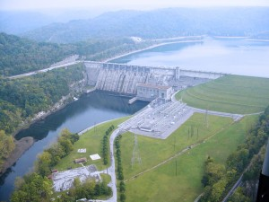 Aerial photograph of Center Hill Dam, Lancaster.