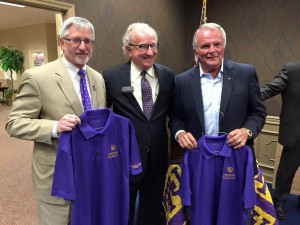 Lanny Dunn, right, with Tennessee Tech President Dr. Philip Oldham, left, and Cookeville Chamber CEO George Halford.