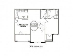 A two-bedroom unit at Greenwood Place.