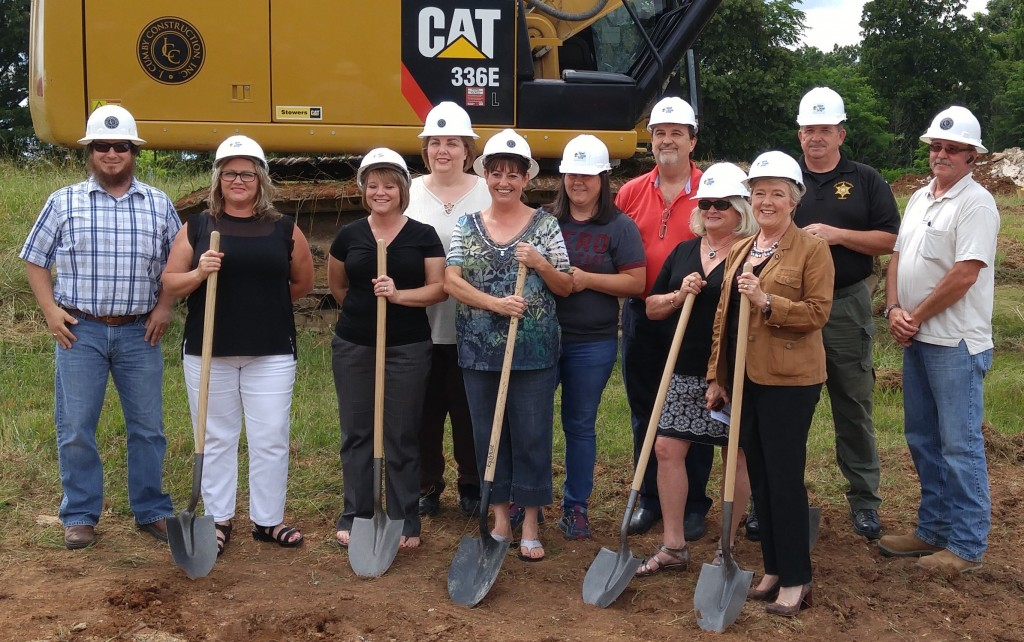 Pictured at the Van Buren County administration building groundbreaking ceremony are, from left, Jacob L. Ramsaur, J. Cumby project manager; Lisa Rigsby, court clerk; Darlene Hale, assessor of property; Tammy Clendenon, trustee; April Shockley, register of deeds; B.J. Baker, circuit court clerk; Greg Wilson, county mayor; Shirley Pond, representative from Congressman Scott DesJarlais' office; Janice Bowling, Tennessee state senator, District 16; Eddie Carter, sheriff; and Joe Muscarnero, J. Cumby superintendent.
