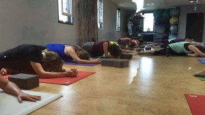 Students practice pigeon pose at Synergy Mind & Body Studio in Cookeville.