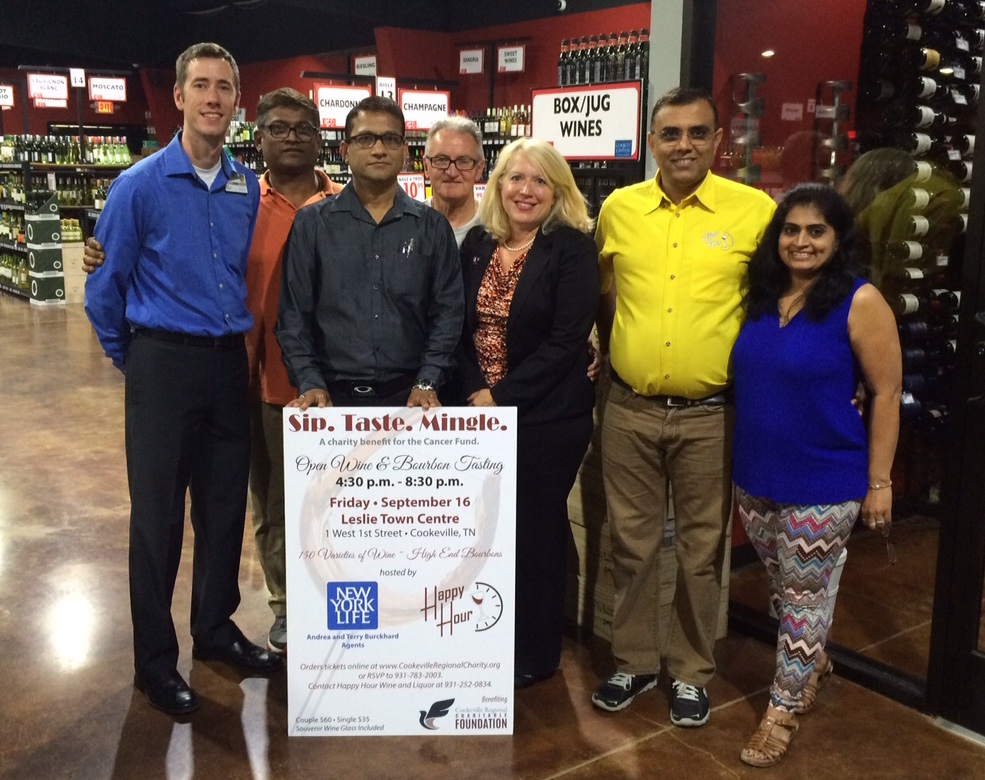 """Gearing up for """"Sip, Taste, Mingle,"""" a wine and bourbon tasting event benefitting the cancer fund at Cookeville Regional Charitable Foundation are, from left, John Bell, Raj Patel, Chris Shah, Terry Burkhard, Andrea Burkhard, Nick Patel and Dipti Patel."""
