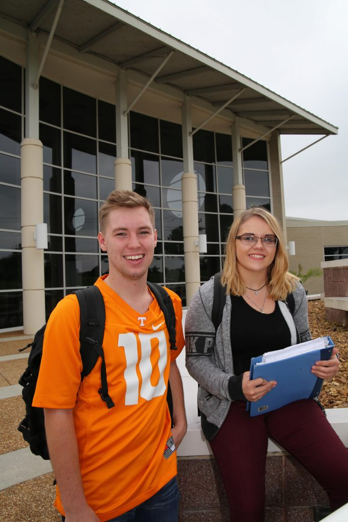Vol State students Chandler West of Cookeville and Tamera Webb of Sparta are taking classes on the CHEC campus.
