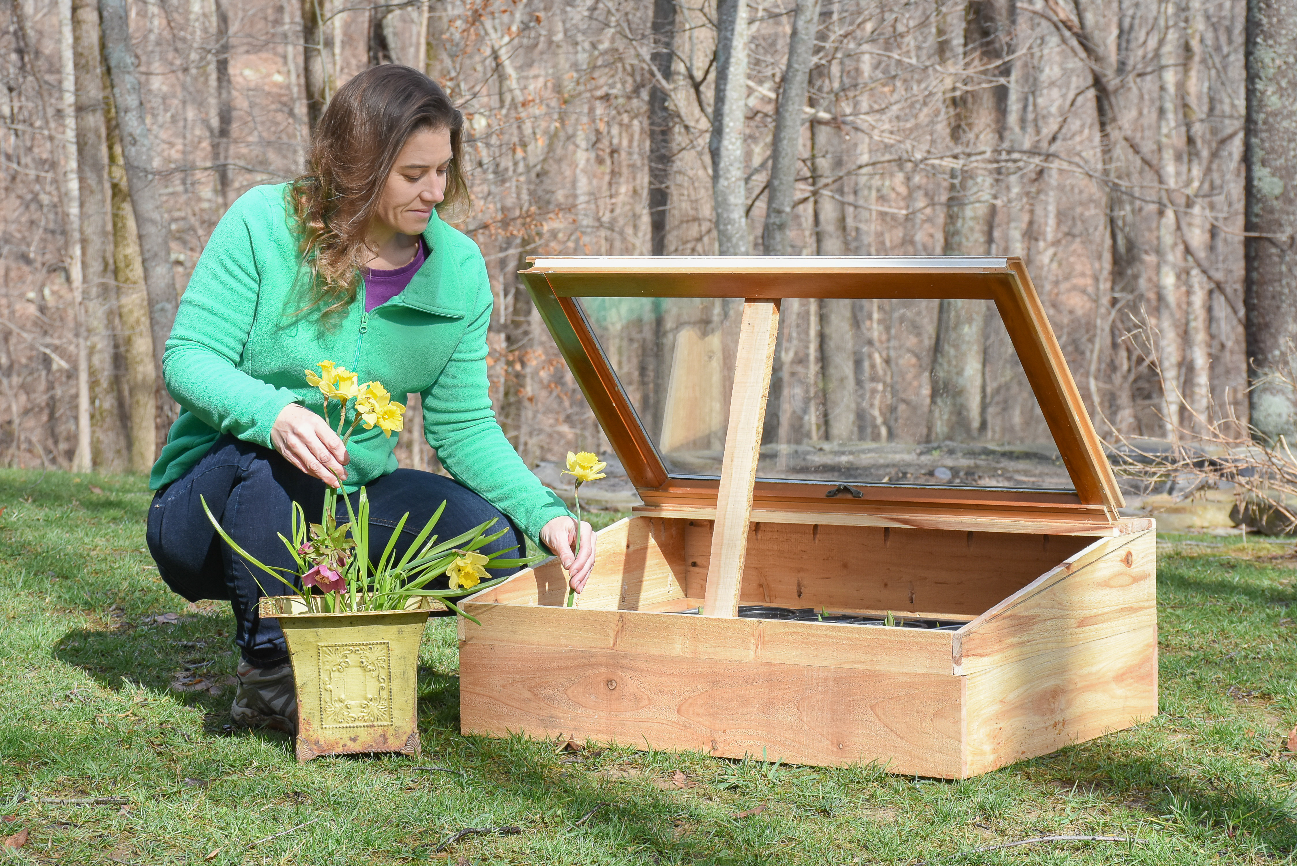 Serina Wells will teach a workshop Sunday, March 3 at 1:00 PM. Visitors will learn to build a quick, easy and low-cost portable cold frame to start plants early for the spring growing season.